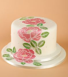 'Large Rose Stencil Cake' - made using the 'Rose' stencil by Premier Stencils.