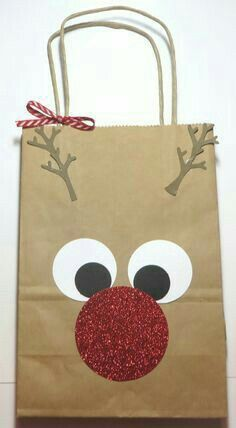 Rudolph the Red-Nosed Reindeer Gift Bag! So easy! Find a shopping bag in your stash and punch some circles! bag punch board Decorate a Rudolph the Red-Nosed Reindeer Gift Bag Christmas Gift Bags, Christmas Gift Wrapping, Christmas Projects, Xmas Gifts, Holiday Crafts, Christmas Holidays, Christmas Decorations, Modern Christmas, Christmas Tables