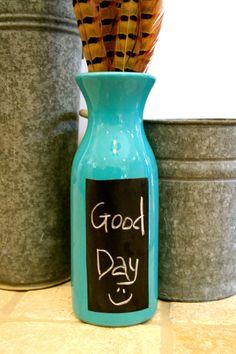 Chalkboard Contact Paper - DIY with glass bottles - Faça você mesmo - Reciclagem de garrafas e potes de vidro!