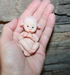 Baby Fairy Elf Pixie OOAK Polymer Clay Art Sculpt Miniature figurine Sweet Cheek