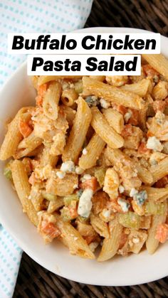 Pasta Dishes, Food Dishes, Buffalo Chicken Pasta Salad, Good Food, Yummy Food, Cooking Recipes, Healthy Recipes, Pasta Salad Recipes, Main Meals