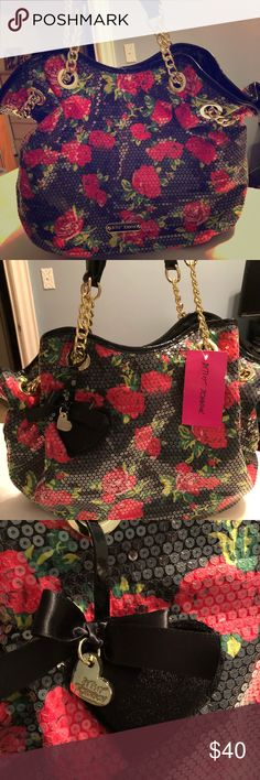Betsey Johnson Purse NWT Black and gold with red roses 🌹 Betsey Johnson Bags Shoulder Bags