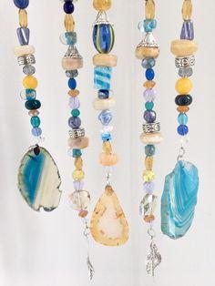 Blue Yellow Agate Wind Chimes, Glass Bead Stone Windchime, Outdoor Garden Decoration, Wall Hanging, Sun Catcher, Yard Porch Decor, Boho