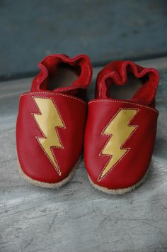 WeeKicks Red & Yellow Lightning Bolts Handcrafted by SoleKicks