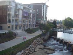 Falls on the Reedy. Riverwalk downtown in  Greenville, South Carolina.