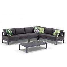 Amalfi 6 Seater  Aluminium  Outdoor Modular Lounge  Setting featuring Sunbrella Fabric  -Gunmetal  / Canvas Coal
