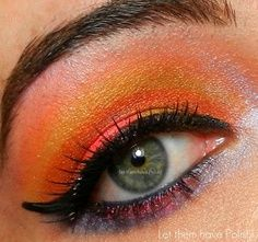 bright coral and yellow eyeshadow #beauty #makeup