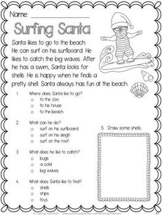 FREE Surfing Santa - fun reading comprehension for Christmas! Best Picture For Reading Comprehension tips For Your Taste You are looking for something, and it is going to tell you exactly what you are Comprehension Worksheets, Reading Worksheets, Reading Activities, Therapy Activities, Reading Comprehension, Comprehension Strategies, Preschool Worksheets, Kindergarten Reading, Teaching Reading