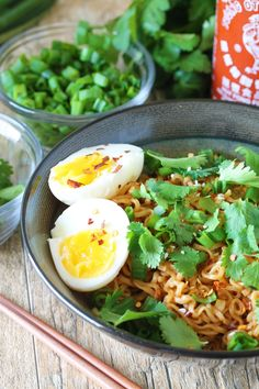 Ramen noodles are flavored with a sriracha-spiced sauce and served up with soft boiled eggs, cilantro, and green onions. All in just 15 minutes! Quick and easy meals are something we love. When you are hungry you just want to eat, dangit! Cheap, quick, and easy meals are a staple for almost every household. This...