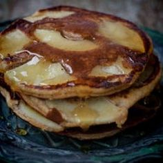 Gluten Free Apple Pancakes  4 eggs, 1tsp honey, 1tbsp coconut milk, 1tsp coconut oil, 3tbsp coconut flour, 1tsp baking soda, 1apple sliced thinly (to put on top of pancakes)