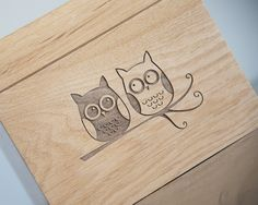 A beautiful wooden recipe box engraved with a pair of owls and personalized with your name. Comes with matching recipe cards and dividers. Great gift for a future bride!