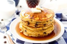 Pumpkin Chocolate Chip Pancakes-These Pumpkin Chocolate Chip Pancakes taste just like the classic fall cookie - but you can eat them for breakfast!