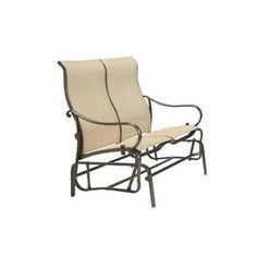 Tropitone Radiance Sling Double Glider Chair Fabric: Sparkling Water, Finish: Parchment