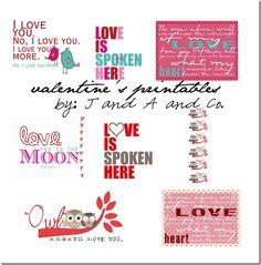 FREE valentine printables.