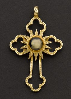 Jerusalem Gold Cross With Religious Reliquary Relic. ...