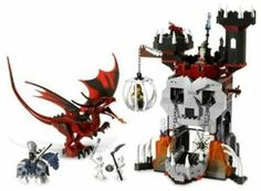 LEGO Skeleton's Tower by LEGO. $329.69. Includes evil dragon, princess, wizard, suspended prison, trap doors, working skeleton mouth drawbridge, 2 skeletons and 1 knight with horse.. Watch out for the evil dragon circling above.. Brave heroes must enter the lowering skull jaw gate at their own peril.  Will they save the princess in time?. 399 pieces. At the Skeleton Tower, the evil Wizard plots his next move to capture the castle.. From the Manufacturer                LEG...