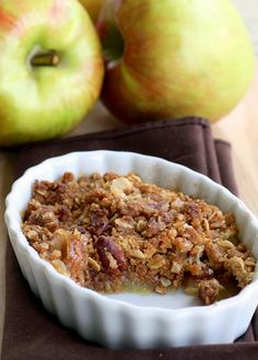 apple crisp complete with a brown sugar, oats, and pecan crumble.