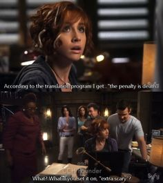 """""""According to the translation program I get...'the penalty is death.'""""    """"What? What'd you set it on, 'extra scary?!'"""" Warehouse13"""