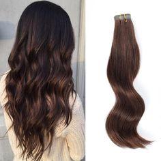 Tape  In Hair Extension #3 Medium Dark Brown Extensions For Thin Hair, Seamless Hair Extensions, Tape In Hair Extensions, Curled Hairstyles, Straight Hairstyles, Prom Hairstyles, Medium Dark Brown Hair, Hair Tape, Remy Hair