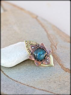 Lotus Flower Ring with labradorite - Mixed metal ring - Hand forged rustic ring lotus - Unique lotus ring - yoga jewelry - magic stone