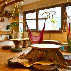 Shimokitazawa Tokyo Cafe Hammock Tribe  A hammock cafe inspired by the beach. They serve Thai / Asian cuisines