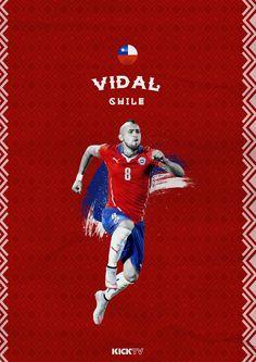 Arturo Vidal of Chile wallpaper. Neymar, Copa America Centenario, Soccer Poster, Retro Football, Football Wallpaper, Cristiano Ronaldo, Football Players, World Cup, Guys