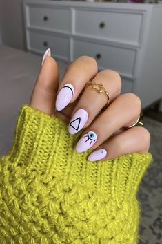 Manicure of the Month: Geometric Pink Evil Eye Nails - Living After Midnite Nail Art Gel Uv, Acrylic Nails, Nail Polish, Uv Gel, Evil Eye Nails, Triangle Nails, Nagel Gel, Mean Girls, Nail Inspo