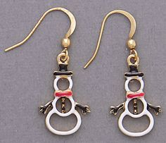 Simply Whispers jewelry pierced earrings gold French hook white black red snowman