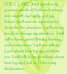 """I DECLARE I will speak only positive words of faith and victory over myself, my family, and my future... Day #24... """"I Declare: 31 Promises to Speak over Your Life"""" by Joel Osteen"""