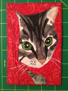 by NeonKitty Quilts Cat Quilt Patterns, Paper Piecing Patterns, Fabric Cards, Fabric Postcards, Quilting Projects, Quilting Designs, Cat Template, Fabric Animals, Patch Aplique