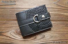 Genuine Fine Leather Man Black Wallets Stainless Steel Buckle Money Clips Bifold #MakeyStudio #CardHolder