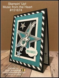 Cindy Brumbaugh, Independent Stampin' Up Demonstrator Masculine Birthday Cards, Birthday Cards For Men, Masculine Cards, Guy Birthday, Valentines Day Cards Handmade, Handmade Birthday Cards, Musical Cards, Handmade Headbands, Handmade Crafts