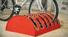 Guess what this upcycled bike rack used to be? An oil barrel!