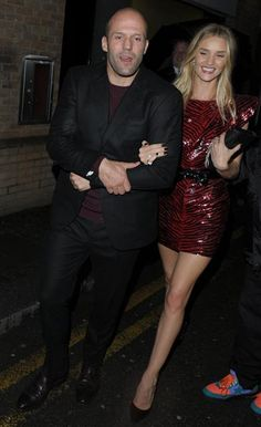 Jason Statham kept his love Rosie Huntington-Whiteley close at the BRIT Awards Three Six Zero Group and Roc Nation Party at Hakkasan in London on Feb. 19, 2014. What a hot couple!