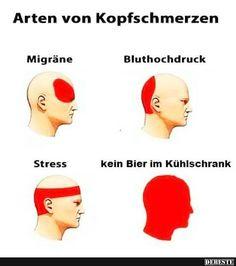 Arten von Kopfschmerzen.. | Lustige Bilder, Sprüche, Witze, echt lustig