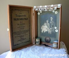 We Three Vintage Altered Cigar Box with antique cabinet card and vintage embellishments
