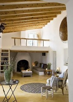 Stunning Rustic Home Design with Unique Ceiling