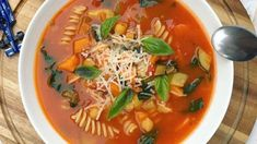 Hearty tummy filler that has immune boosting nutrients and ideal for winter days Easy Soup Recipes, Top Recipes, Vegan Recipes Easy, Cooking Recipes, Vegan Meals, Coconut Soup, Pumpkin Soup, Fabulous Foods, One Pot Meals