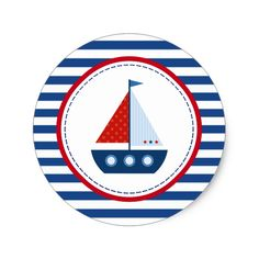 Red and Blue Sailboat Classic Round Sticker Create Your Own and Sailor Birthday, Sailor Party, Sailor Theme, Diy Holiday Gifts, Diy Gifts, Christmas Holiday, Baby Shower Marinero, Red Bridal Showers, Nautical Party