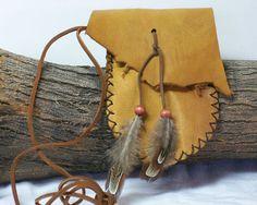 Handmade Deerskin Leather Medicine Bag, Sage, Stone, Herb, Pouch