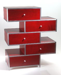 red don't fall down dresser