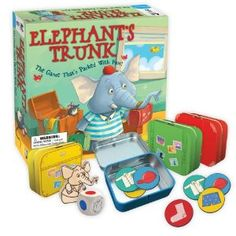 Elephant's Trunk - Emmet the elephant is late for a trip and needs your help packing. Take turns rolling the die and placing a piece of clothing into the matching colored trunk. But watch out for the sneaky mouse who will try to dump out everything you just packed. Be the first to pack up all of Emmet's clothes and he might just take you with him on vacation.     read more at http://www.amazon.com/Gamewright-409-Elephants-Trunk/dp/B007O6M5MO/ref=comopi-20#