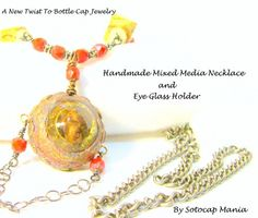 """29"""" Cable Chain, Wire Wrapped Bottle cap Necklace and Eye Glass Holder 