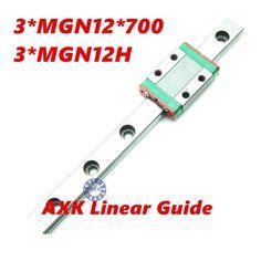 Hot sale 3D print parts cnc AXK MGN12 12mm miniature linear rail slide 1 Set=3pcs 12mm L-700mm rail+3pcs MGN12H carriage //Price: $156.46//     #storecharger