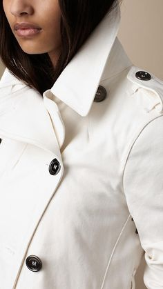 Mid-Length Cotton Trench Coat detail from the Burberry Brit White collection