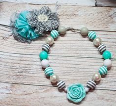 Aquamarine - chunky necklace in aqua, grey and white with optional coordinating headband by SoTweetDesigns, $12.50+