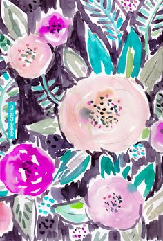 Gardens of Rockridge Floral Art Print by barbraignatiev Marble Wallpaper Phone, Star Wars Wallpaper, Watercolor Print, Watercolor Flowers, Cool Wallpapers For Phones, Iphone Wallpapers, Floral Prints, Art Prints, Floral Illustrations