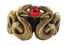1940's Joseff of Hollywood gold snake bracelet with red stone