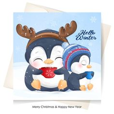 Cute penguins for christmas day with wa... | Premium Vector #Freepik #vector Merry Christmas Background, Merry Christmas Banner, Merry Christmas Greetings, Christmas Labels, Merry Christmas And Happy New Year, Christmas Cards, Xmas Theme, Watercolor Cards, Watercolor Illustration