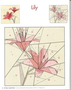 """Lily - paper piece pattern from a book Flower Quilt Blocks"""" Patchwork Quilting, Paper Pieced Quilt Patterns, Quilt Block Patterns, Quilt Blocks, Patchwork Patterns, Quilting Tutorials, Quilting Projects, Quilting Designs, Paper Quilt"""